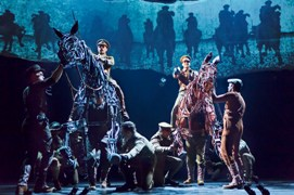 (L to R on horseback) Grayson DeJesus and Michael Wyatt Cox in the national tour of the National Theatre of Great Britain production of ?War Horse,? which has its West Coast premiere at the Center Theatre Group/Ahmanson Theatre, June 14 through July 29, 2012.  (Opens June 29.)  ?War Horse,? the winner of five Tony Awards, is based on a novel by Michael Morpurgo, adapted by Nick Stafford and presented in association with Handspring Puppet Company. For tickets and information, call (213) 972-4400 or go to www.CenterTheatreGroup.org.                                                                                      Contact: CTG Media and Communications (213) 972-7376/CTGMedia@CenterTheatreGroup.org                                     Photo by Brinkhoff/Mögenburg