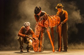 (L to R) Catherine Gowl, Nick LaMedica and Laurabeth Breya in the national tour of the National Theatre of Great Britain production of ?War Horse,? which has its West Coast premiere at the Center Theatre Group/Ahmanson Theatre, June 14 through July 29, 2012.  (Opens June 29.)  ?War Horse,? the winner of five Tony Awards, is based on a novel by Michael Morpurgo, adapted by Nick Stafford and presented in association with Handspring Puppet Company. For tickets and information, call (213) 972-4400 or go to www.CenterTheatreGroup.org.                                                                                     Contact: CTG Media and Communications (213) 972-7376/CTGMedia@CenterTheatreGroup.org                                    Photo by Brinkhoff/Mögenburg