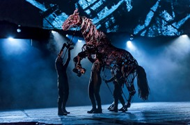 (L to R obscured) Christopher Mai, Derek Stratton and Rob Laqui in the national tour of the National Theatre of Great Britain production of ?War Horse,? which has its West Coast premiere at the Center Theatre Group/Ahmanson Theatre, June 14 through July 29, 2012.  (Opens June 29.) ?War Horse,? the winner of five Tony Awards, is based on a novel by Michael Morpurgo, adapted by Nick Stafford and presented in association with Handspring Puppet Company. For tickets and information, call (213) 972-4400 or go to www.CenterTheatreGroup.org.                                                       Contact: CTG Media and Communications (213) 972-7376/CTGMedia@CenterTheatreGroup.org                                     Photo by Brinkhoff/Mögenburg