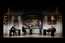 Austin Ku, Celeste Den, Vivian Chiu, Alex Moggridge and Michelle Krusiec in South Coast Repertory's 2013 production of CHINGLISH by David Henry Hwang.