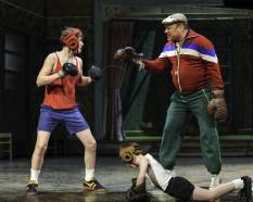 "Ben Cook (Billy), Cal Alexander (Small Boy) and Joel Blum (George) in ""Billy Elliot the Musical.""  Photo by Amy Boyle"