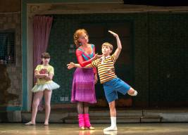 "Samantha Blaire Cutler (Debbie), Janet Dickinson (Mrs. Wilkinson) and Noah Parets (Billy) in ""Billy Elliot the Musical.""  Photo by Amy Boyle"