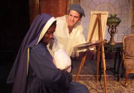 Leo (Ben Gillman) poses Elizabeth (Candace Nicholas-Lippman) as Madonna and child