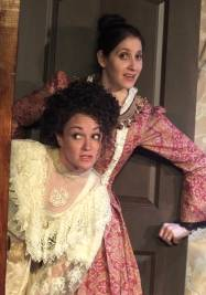 Mrs Givings (Joanna Strapp) and Mrs Daldry (Yael Berkovich at top) on a clandestine adventure