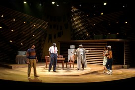 Chris Butler, Charlie Robinson, Gregg Daniel, Kim Staunton and Larry Bates in South Coast Repertory's 2013 production of DEATH OF A SALESMAN by Arthur Miller