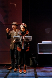 Nelson Lee and Jackie Chung in South Coast Repertory's 2013 world premiere of FAST COMPANY by Carla Ching.