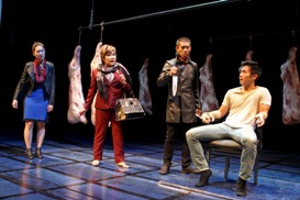 Jackie Chung, Emily Kuroda, Lawrence Kao and Nelson Lee in South Coast Repertory's 2013 world premiere of FAST COMPANY by Carla Ching.