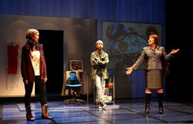 Jackie Chung, Lawrence Kao and Emily Kuroda in South Coast Repertory's 2013 world premiere of FAST COMPANY by Carla Ching.