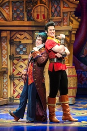 Jordon Aragon as Lefou and Tim Rogan as Gaston.  Photo by Amy Boyle