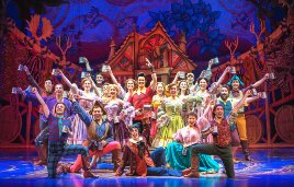 Tim Rogan as Gaston and the cast of Disney's Beauty and the Beast. Photo by Amy Boyle