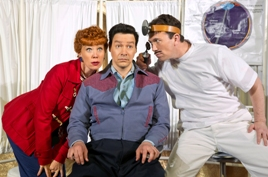 Sirena Irwin (Lucy), Bill Mendieta (Ricky) and Carlos Martin (Eye Doctor) in I LOVE LUCY® LIVE ON STAGE. Photo by Jeremy Daniel
