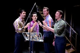 Segerstrom Center - l to r Adam Zelasko, Hayden Milanes, Quinn VanAntwerp and Nicolas Dromard in JERSEY BOYS - Photo by Jeremy Daniel
