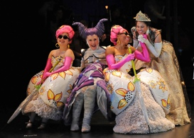 L to R - Katie Bradley as Florina, Catherine E Coulson as Cinderella's Stepmother, Christiana Clark as Lucinda and Jennie Greenberry as Cinderella - Photo by Kevin Parry