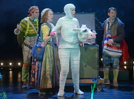 L to R - Miles Fletcher as Jack, Rachael Warren as Baker's Wife, Catherine E Coulson as Milky White, Jeff Skowron as the Baker - Photo by Kevin Parry