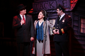 From left, Benjamin Perez as Sen. Max Evergreen, Stephanie Harter Gilmore as Duchess Estonia Dulworth and Thomas Schario as Chief Berry perform during a ...