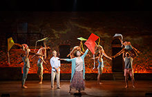 "George Chakiris and Donna McKechnie (center) with the cast in Terrence McNally's vignette ""Sand Dancing,"" part of the world premiere musical In Your Arms. In Your Arms, with music by Stephen Flaherty and direction and choreography by Christopher Gattelli, runs Sept. 16 - Oct. 25, 2015 at The Old Globe. Photo by Carol Rosegg."