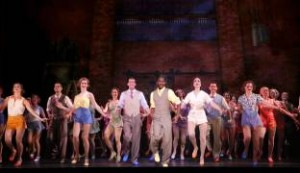 Segerstrom-Center-42nd-Street-Lamont-Brown-as-Andy-Lee-(center-in-yellow)-and-Company-in-Audition-PHOTO-BY-CHRIS-BENNION