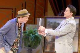 003 Benjamin Schrader and Davis Gaines in Dirty Rotten Scoundrels Produced by Musical Theatre West