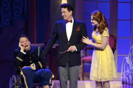 010 Benjamin Schrader, Davis Gaines, and Rebecca Ann Johnson in Dirty Rotten Scoundrels Produced by Musical Theatre West
