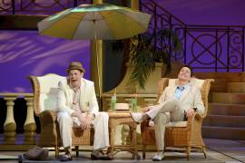 014 Benjamin Schrader and Davis Gaines in Dirty Rotten Scoundrels Produced by Musical Theatre West