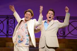 015 Benjamin Schrader and Davis Gaines in Dirty Rotten Scoundrels Produced by Musical Theatre West